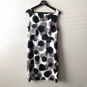 Ann Taylor White Black & Grey Poka Dot Dress Sz 6